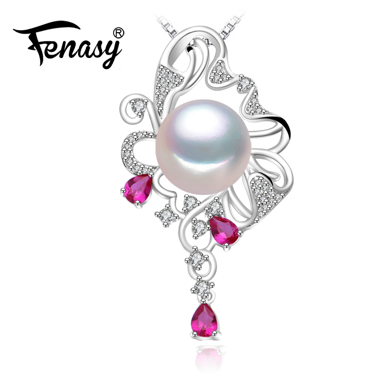 FENASY Pearl Jewelry,ruby Necklace,Choker 925 sterling silver pendant for Women 2018 new stone pendant necklace for women gothic style black lace faux ruby teardrop choker necklace for women