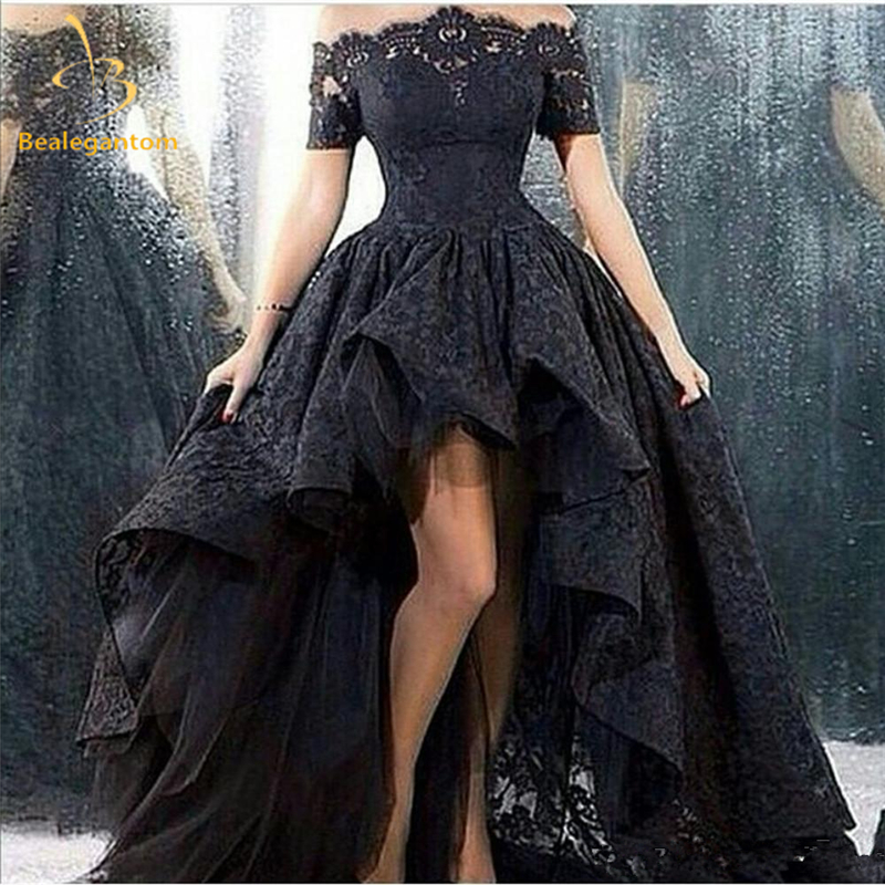 Bealegantom Elegant Black Appliques A-Line Long Lace   Prom     Dresses   2018 Plus Size Evening Party Gowns Vestido Longo QA1224