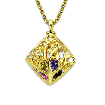 AILIN Family Tree Birthstone Necklace Gold Color Cage Necklace Heart Birthstone Necklace For Mom