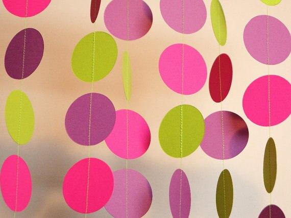 1pcs multicolor Handmade paper circle Flag Banner Garland Wedding