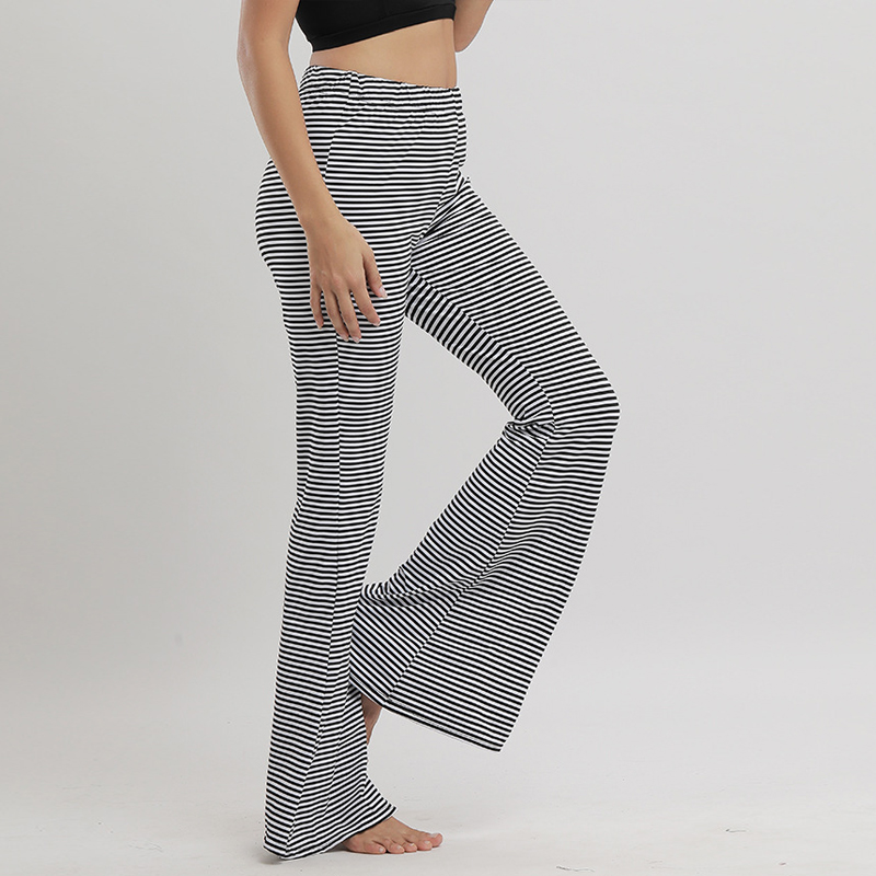 PGSD Summer New Women clothes Striped Leisure wide-leg Elastic Waist Flare Pants Fashion sexy Hight Waist Loose Trousers female