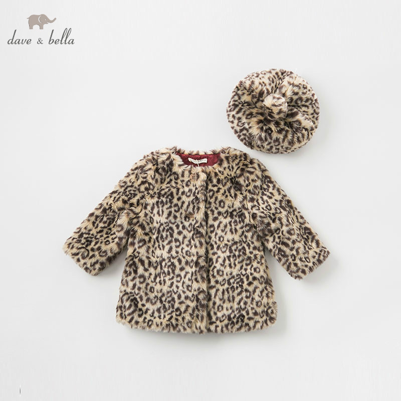 DB8528 dave bella autumn winter baby girls Leopard print jacket children with hat coat infant toddler fashion outerwear