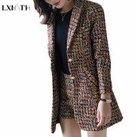 2018 Antumn New Fashion Elegant Blazer Set Women Spliced Twill Long Plaid Blazer and Shorts OL Office Tweed Suits Ladies