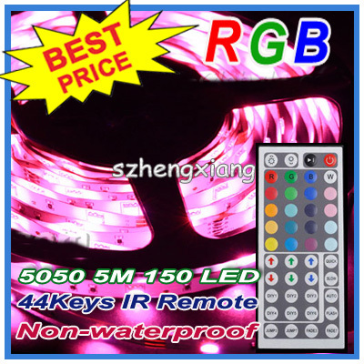 High Quality !!! Flexible LED SMD Strip Light RGB Stripe 5050 150Leds 5m 500cm Non-Waterproof  + 44 Keys IR Remote Controller