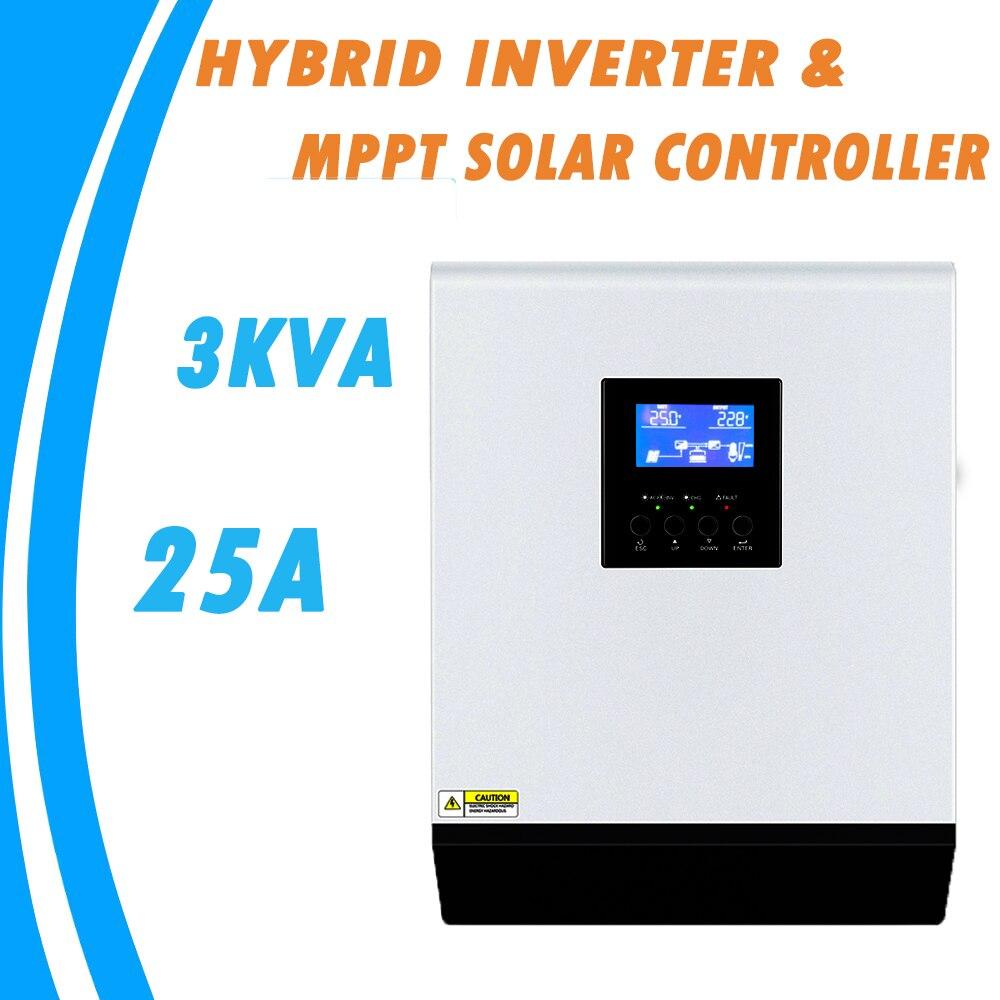 3KVA Pure Sine Wave Hybrid Inverter 24V 220V Built in 25A MPPT PV Charge Controller and