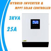 3KVA 순수 사인파 하이브리드 인버터 24V 220V 내장 25A MPPT PV 충전 컨트롤러 및 가정용 AC 충전기 MPS 3K