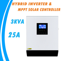 Inversor híbrido de onda sinusoidal pura 3KVA 24 V 220 V incorporado 25A MPPT PV controlador de carga y cargador de CA para uso en casa MPS-3K