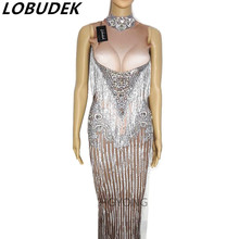 European style Crystals Tassels leotard Stretch Dress female Sexy one piece DS costumes nightclub Party show performance dresses