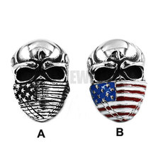 American Flag Infidel Skull Ring Silver Colorful Rings Stainless Steel Jewelry Vintage Motor Biker Men Ring Wholesale SWR0368A