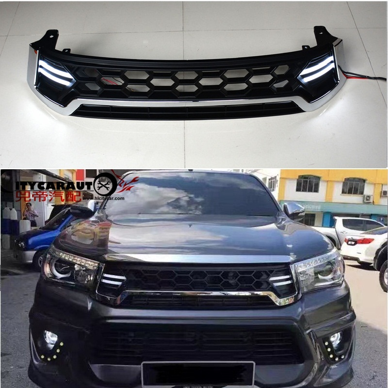 Fit for HILUX REVO 2015-2017 PICKUP CAR Racing grill grille ABS CHORMED LED front grill trim 2015 2017 car wind deflector awnings shelters for hilux vigo revo black window deflector guard rain shield fit for hilux revo