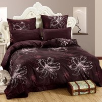 LILIYA 4 6Pieces Comfortable Bedding Set Cozy Pillowcase Sheet With Elastic Luxury Duvet Cover M