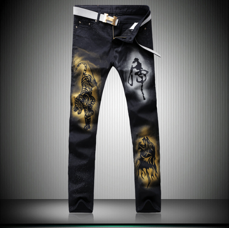 ФОТО The new summer senior hand painted mighty tigers down the mountain men's jeans explosion black factory direct group