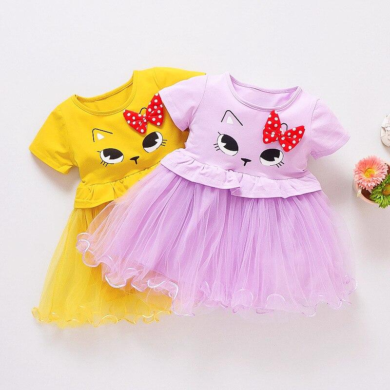 Mottelee Toddler Girls Dress Baby Cat Clothes Dresses Tulle Bow Design Infant Frocks Summer Cartoon Newborn Clothing