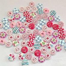 100 шт смешанные деревянные пуговицы 2 отверстия ручная печать декоративные пуговицы для рукоделия швейные принадлежности botones кутюр F22#5