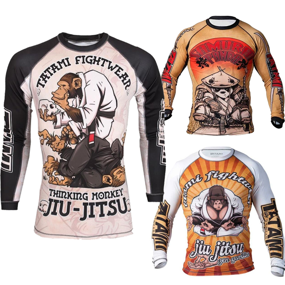 Men's Jiu Jitsu Rashguard Mma T-shirts Long Sleeve Kickboxing Muay Thai T-shirt Printed Monkey Bjj Tights MMA Boxing Fightwear