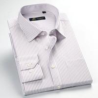 2017 Spring Mens Long Sleeve Stripe Dress Shirt Left Chest Pocket fit Cotton Blend Business Formal Casual Shirt camisa masculina