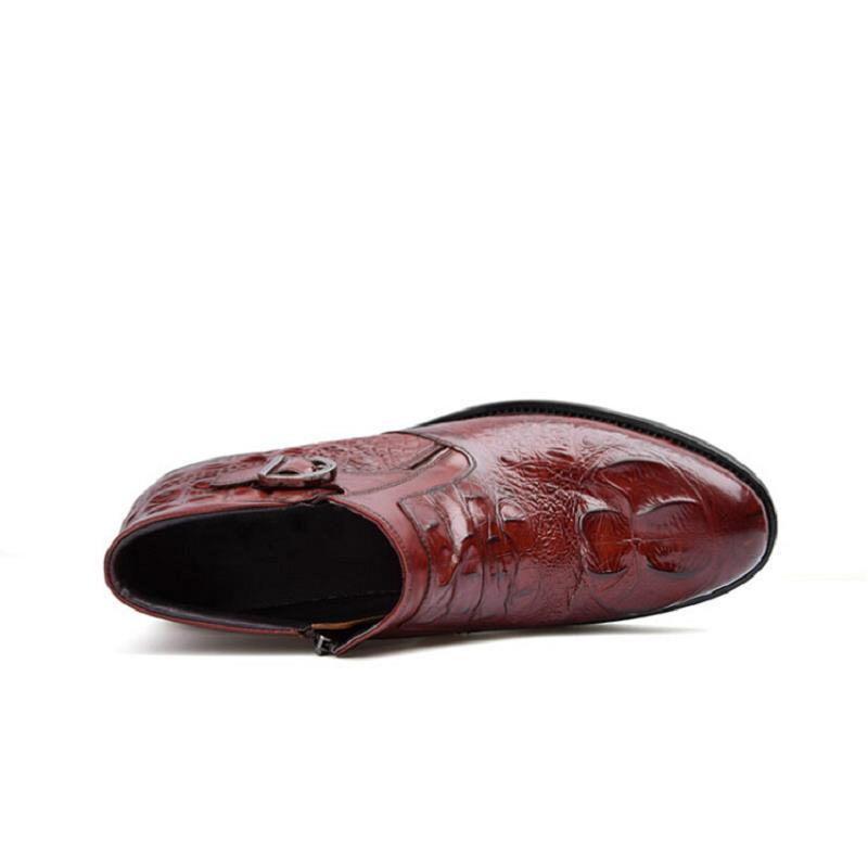 Tinto Cuero Libre Botas Masculina Bota Moda Invierno Botines Hombres 2017 Al Cocodrilo Chelsea De Northmarch Los vino Negro Zapatos Patrón Aire FaqRIx