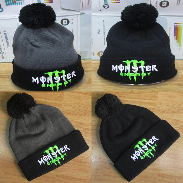 24f05ef810a 2015 Fashion Winter Casual Monster logo Embroidery Beanie warm knitting  skullies beanies winter hats for women man hip hop caps