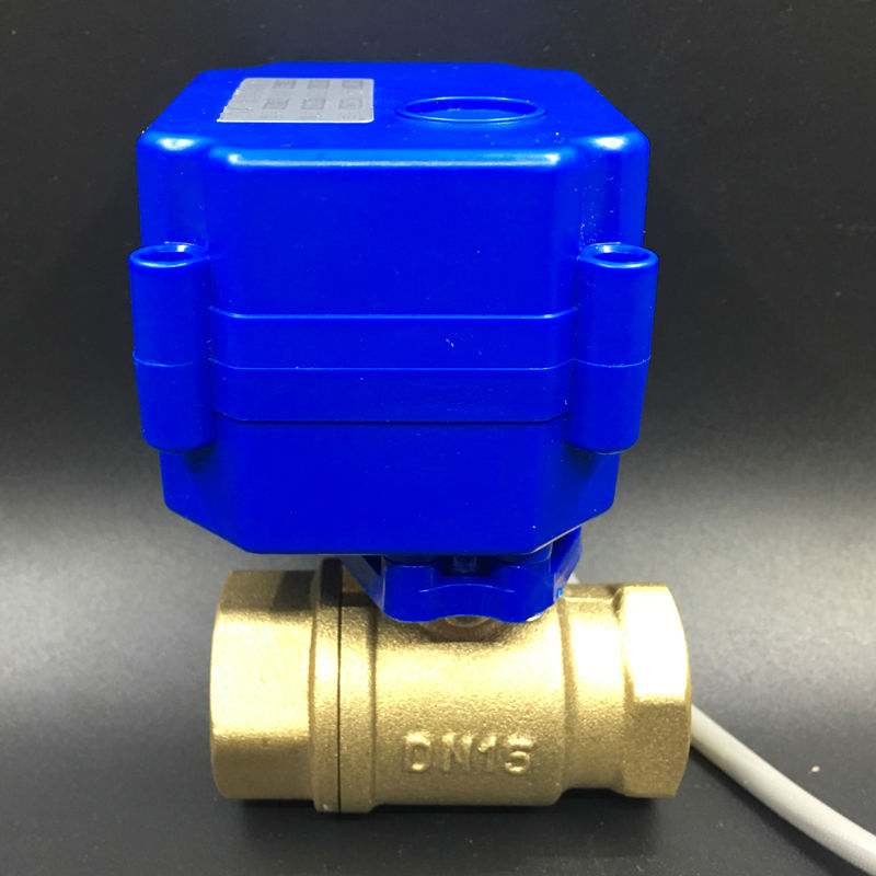 Shipping Free DC3 6V CR01 Wiring 2 Wires BSP 1/2'' 2 Way Electric Shut Off Valve DN15 Motorized Ball Valve