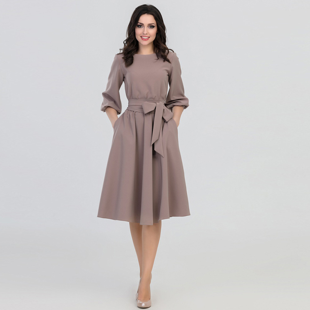 Europe and the United States pure color circle collars trim body retro dress casual elegant style  H001  dress