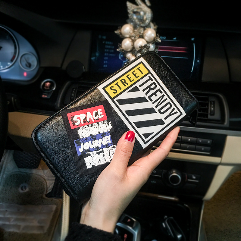 Wallet Women Personality Embroidery Retro Long Wallet Zipper Bag Leather man Clutch Bag Mobile Phone Business Female Wallet 43