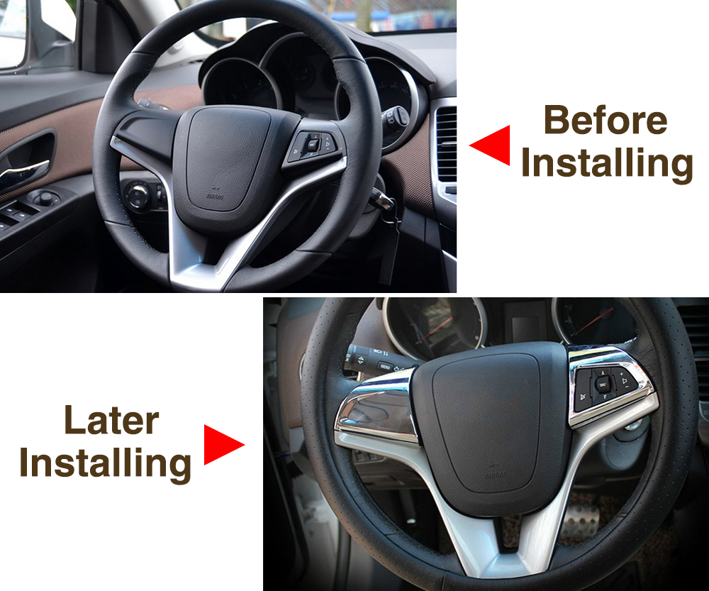 Image 3 - VCiiC Car steering wheel chrome trim cover insert sticker Accessories For Chevrolet Cruze 2009 2014 ,Car styling for Cruze-in Car Stickers from Automobiles & Motorcycles