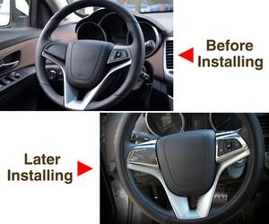 Image 3 - Vciic車のステアリングホイールクロームトリムカバー挿入ステッカーシボレークルーズ 2009 2014 、車のスタイリングのためのクルーズ