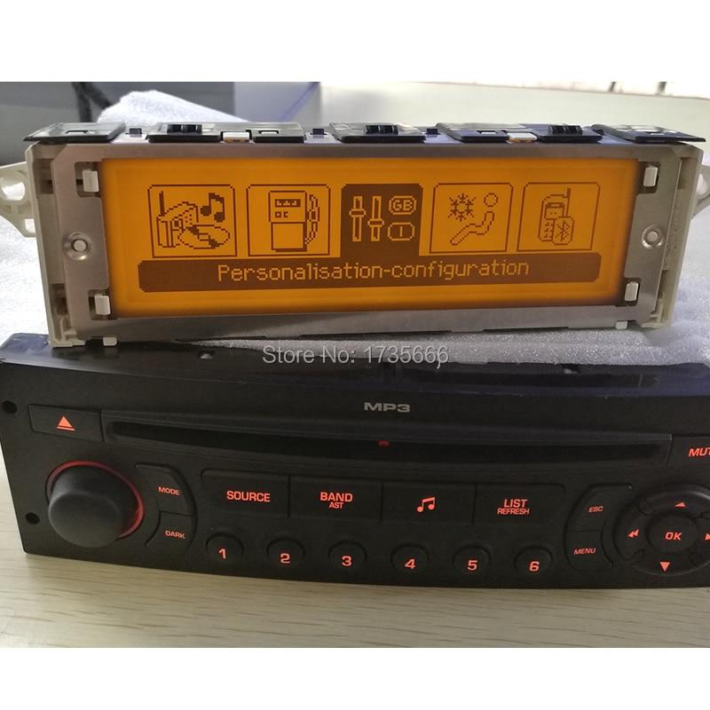 Écran de voiture d'origine Support USB & Bluetooth affichage LCD-jaune moniteur 12 broches haute qualité pour Peugeot 307 407 408 c5