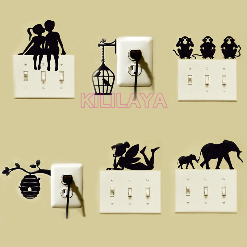 Tinkerbell fairy girl switch stickers vinyl wall sticker for Sticker deco