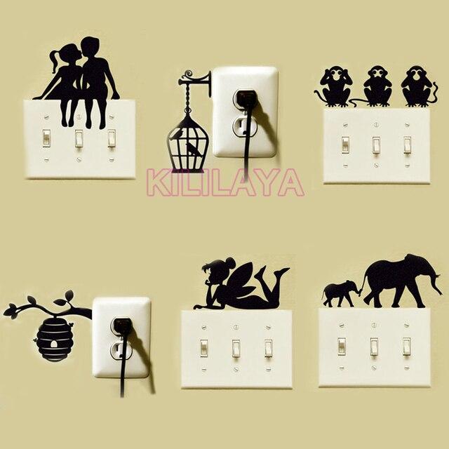 Tinkerbell Hadas Interruptor Chica Pegatinas de Pared de Vinilo Pegatinas Calcomanías Arte para Tomas de Corriente e Interruptores de Luz Decoración Del Hogar Decoración