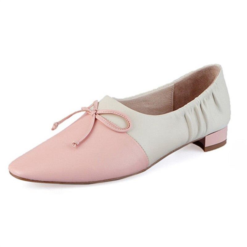 Genuino Casuales Mujer Nueva Y Memunia Colores De Bombas púrpura 2019 Verano Zapatos blanco Llegada Rosado amarillo Tacón Cuero Primavera Mezclados Bajo 8P6fwxBfpq