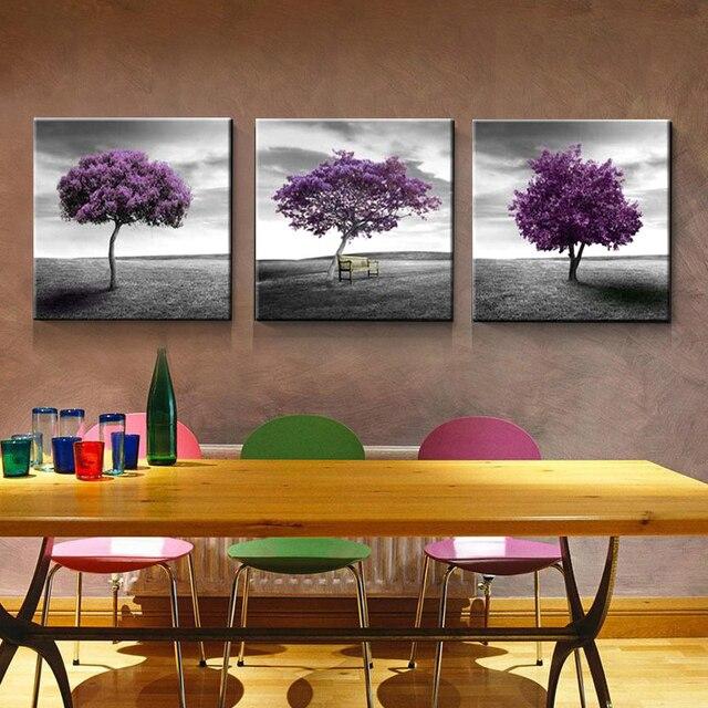 2018 3 Pièces Sans Cadre Moderne Art Mural Décoration De La Maison Arbre  Violet Grandes Images