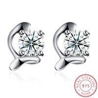 2017 Latest Fashion 100% Genuine Real 925 Sterling Silver AAA Zircon Women Stud Earrings Fashion Jewelry Gift Wholesale SH-E0043