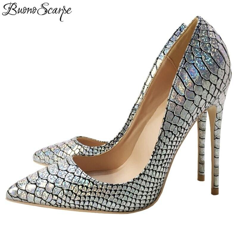 BuonoScarpe 2018 New Euro Style Luxury Silver High Heel Wedding Shoes Shallow Mouth Night Club Heels