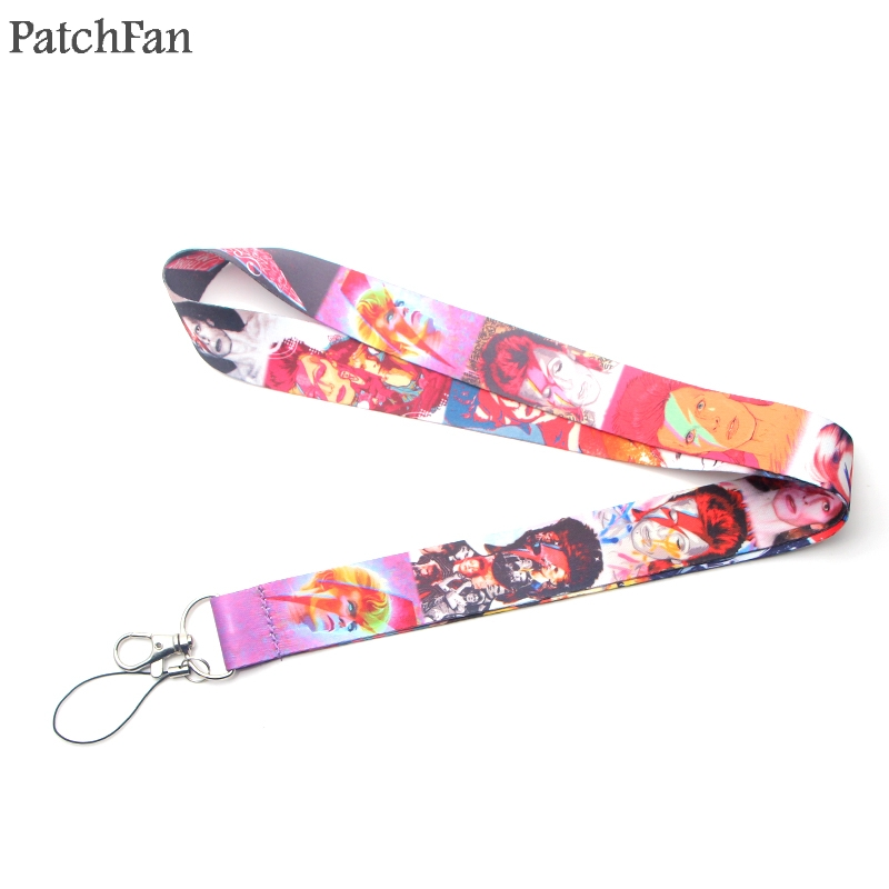 Patchfan David Bowie fans gifts anime keyring keychain neck lanyard webbing ribbon strap badge phone holder necklace A1683