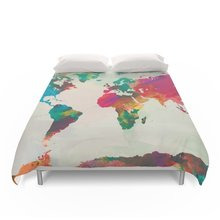 Buy world map bedding and get free shipping on aliexpress charm home watercolor world map bedding set twin size 4pcs gumiabroncs Images