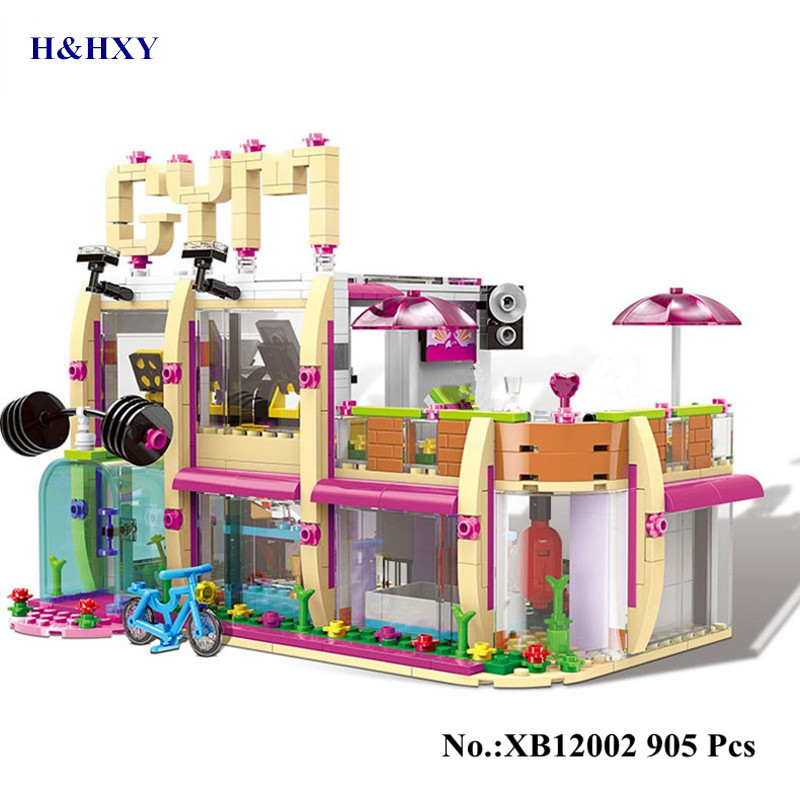H&HXY IN STOCK XB12002 905Pcs City Girl Series The Gym Club Set Building Blocks Bricks Toys legoinglys Model For Children Gifts wange mechanical application of the crown gear model building blocks for children the pulley scientific learning education toys