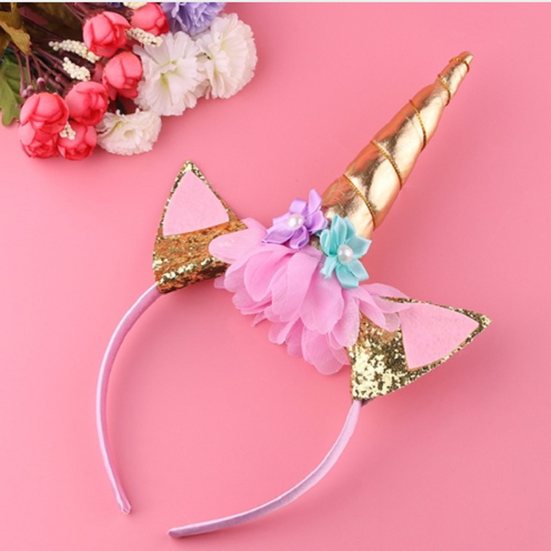 1pc Handmade Kids Gold Unicorn Headband Horn Glittery Beautiful Christmas Party Headwear Hairband Hair Accessories Gold/silver At All Costs