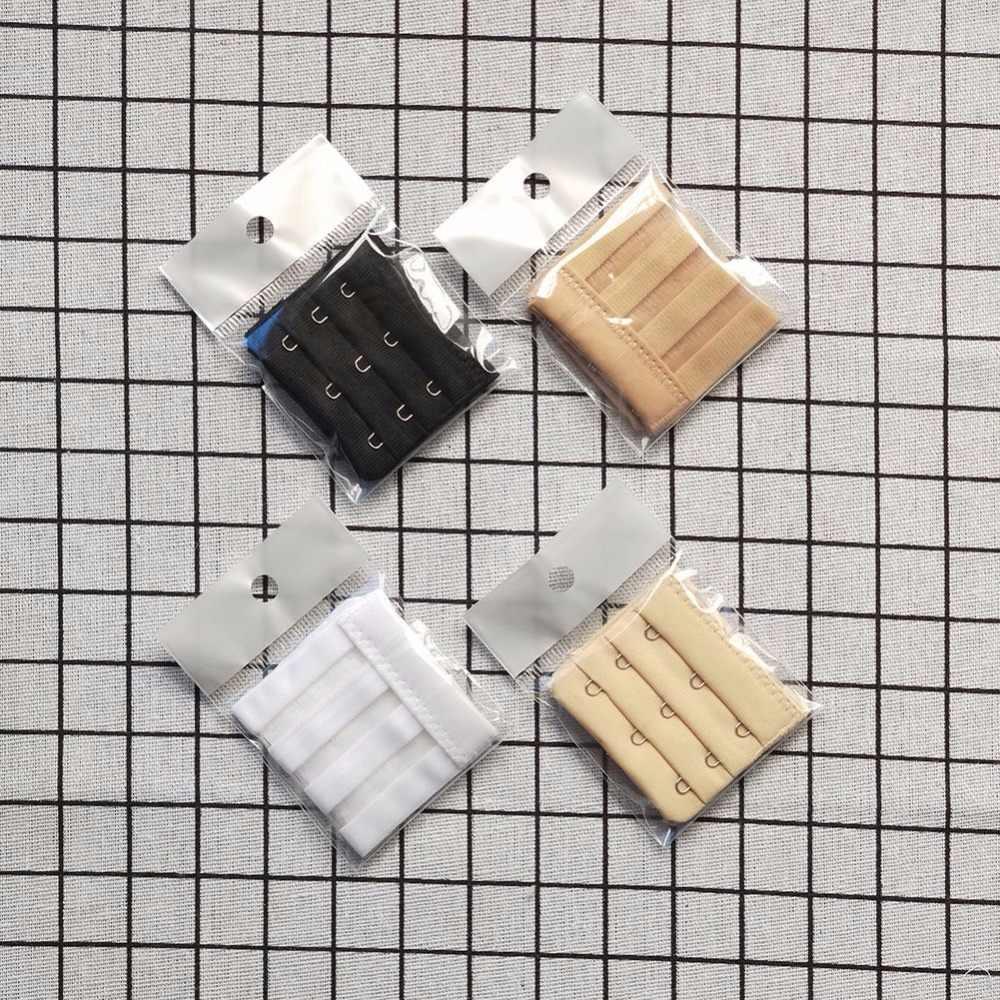 High Quality Stainless Steel Silk Ribbon 3 Rows 3/4 Hooks Bra Extender Elastic Fish Microfiber Style Bra Adjustable Buckles W1
