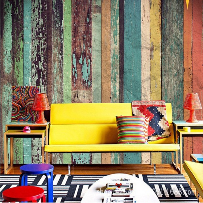 Beibehang Papel De Parede Retro Wallpaper Vintage Color Wood Bar Cafe Lounge KTV Living Room TV