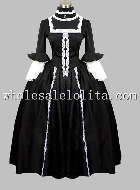 19-го Века Викторианской Era Готический Черный Период Dress Хэллоуин Бал-Маскарад Платье - Цвет: Черный