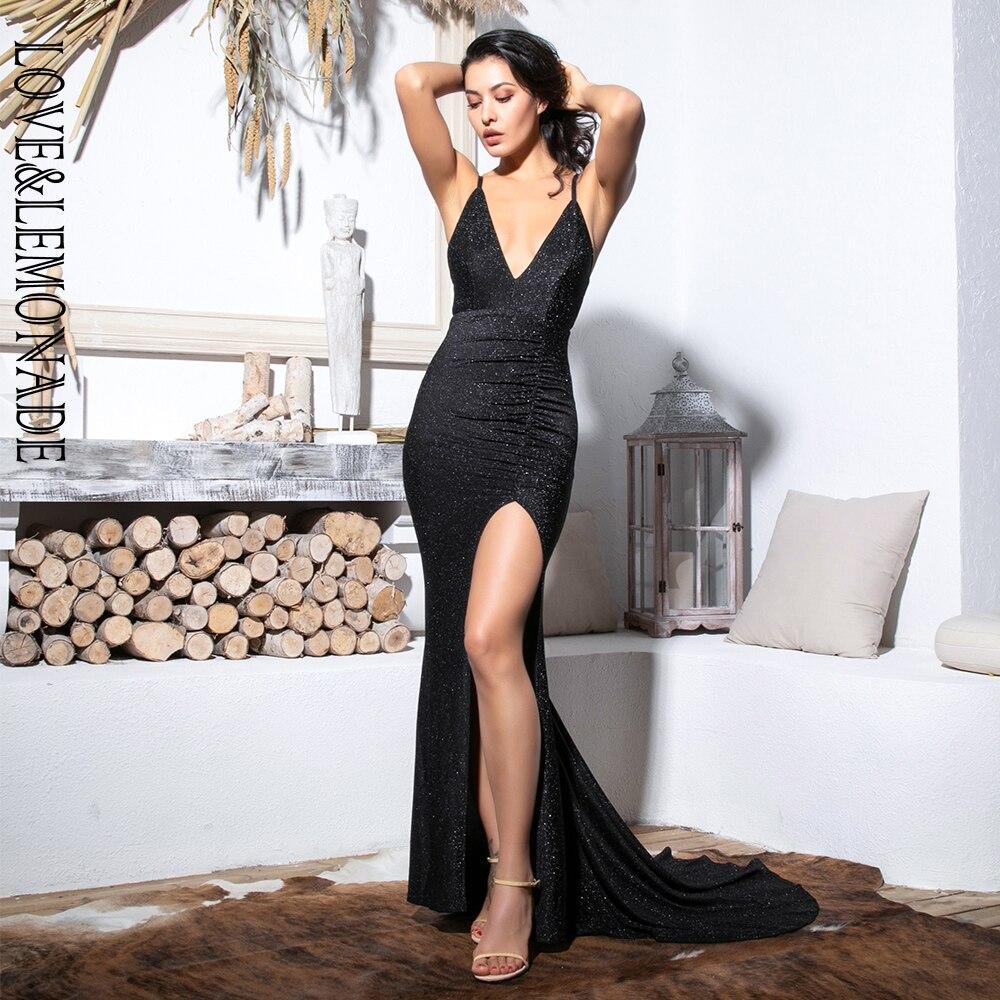 Love Lemonade Sexy Black Deep V Neck Cut Out Bodycon Shiny Elastic Fabric Maxi Dress LM81709