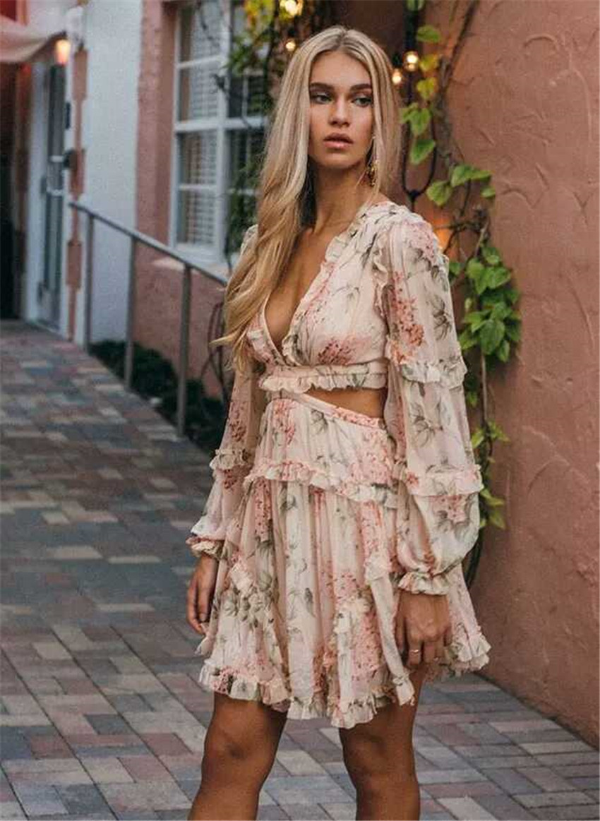 Fashion pink Designer Runway <font><b>Dress</b></font> Women's Hollow Out Ruffles Floral Print <font><b>Chiffon</b></font> <font><b>Mini</b></font> <font><b>Dress</b></font> <font><b>Sexy</b></font> <font><b>Backless</b></font> Deep V neck image