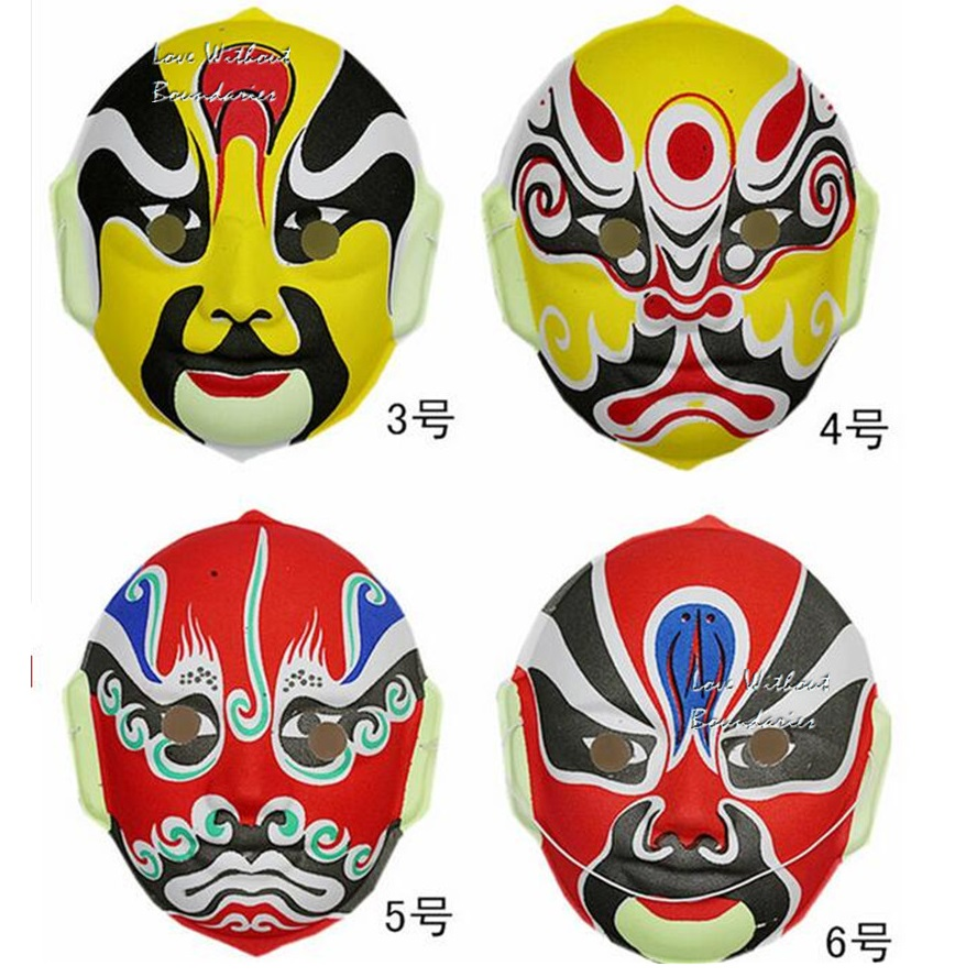 Halloween part and Christmas tool Chinese flocking Peking Opera mask - Festive and Party Supplies