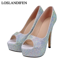 2018 New Shoes Spring Autumn Shallow Shoes Beading Gold High Heels 14cm Red Wedding Shoes Glitter Female Prom Pumps NLK-A0140 цена и фото