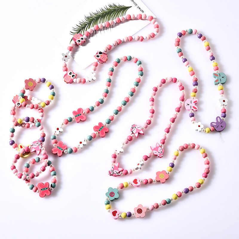 فتاة الخرز اللعب قلادة سوار الفراشات الزهور الطفل اليدوية إكسسوارات عقد الأميرة الأطفال هدايا عيد