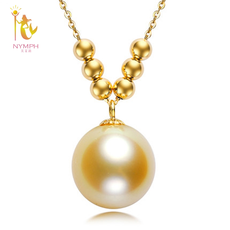 NYMPH Fine jewelry AU750 Natural southsea pearls Pendant luxurious 18K gold accessory and sent gold chain DZ449 free shipping imitation pearls chain flatback resin material half pearls chain many styles to choose one roll per lot