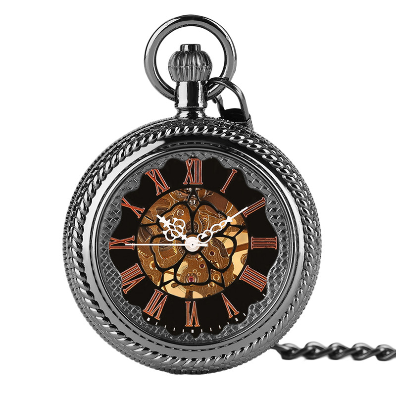 Classic Pendant Black Mechanical Steampunk Pocket Watch Open Face Fob Chain Skeleton Roman Number Men Women Carving Vintage Gift