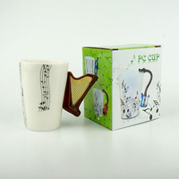 201 300ML Porcelain Tea Cup With Gift Box Creative Harp Music Mug Ceramic Coffee Cup For