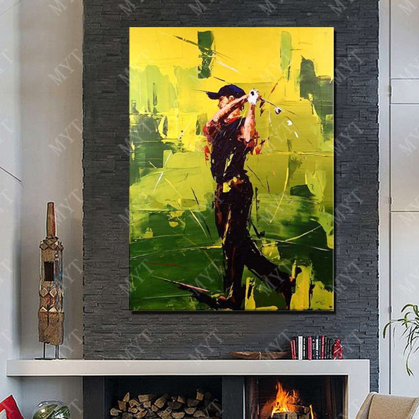 Play Golf Oil Painting Living Room Wall Large Canvas Art Abstract Modern